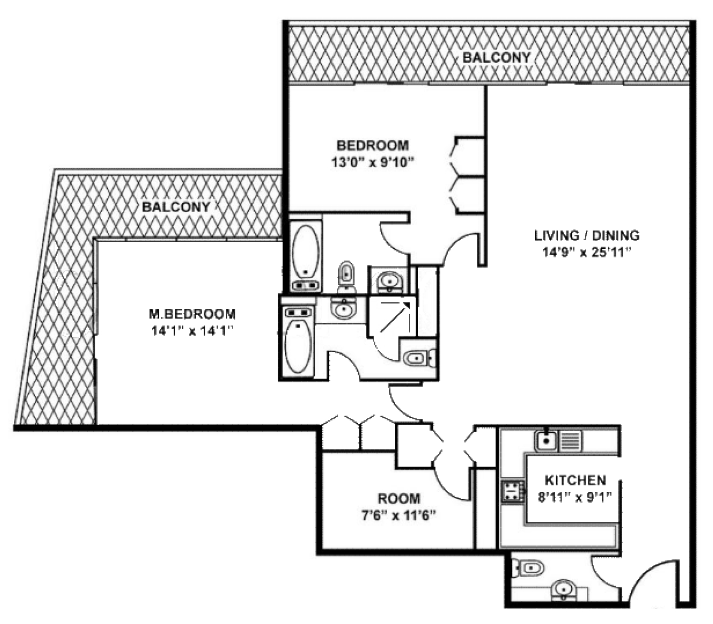 Room in addition 405042560216256773 also 8BW 2bed 1726sqft as well One Bedroom Study Floor Plan together with 401. on 2 bedroom apartment plan