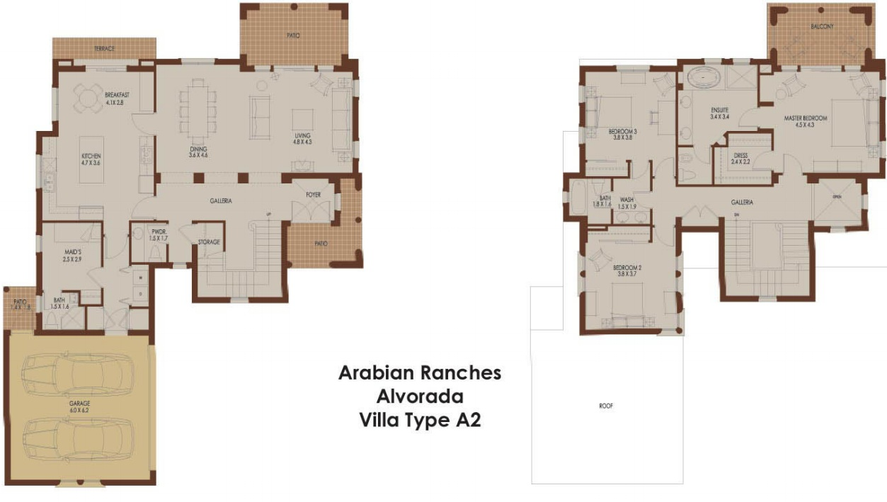 Alvorada a2 arabian ranches dubai floor plans 3 bedroom villa floor plans
