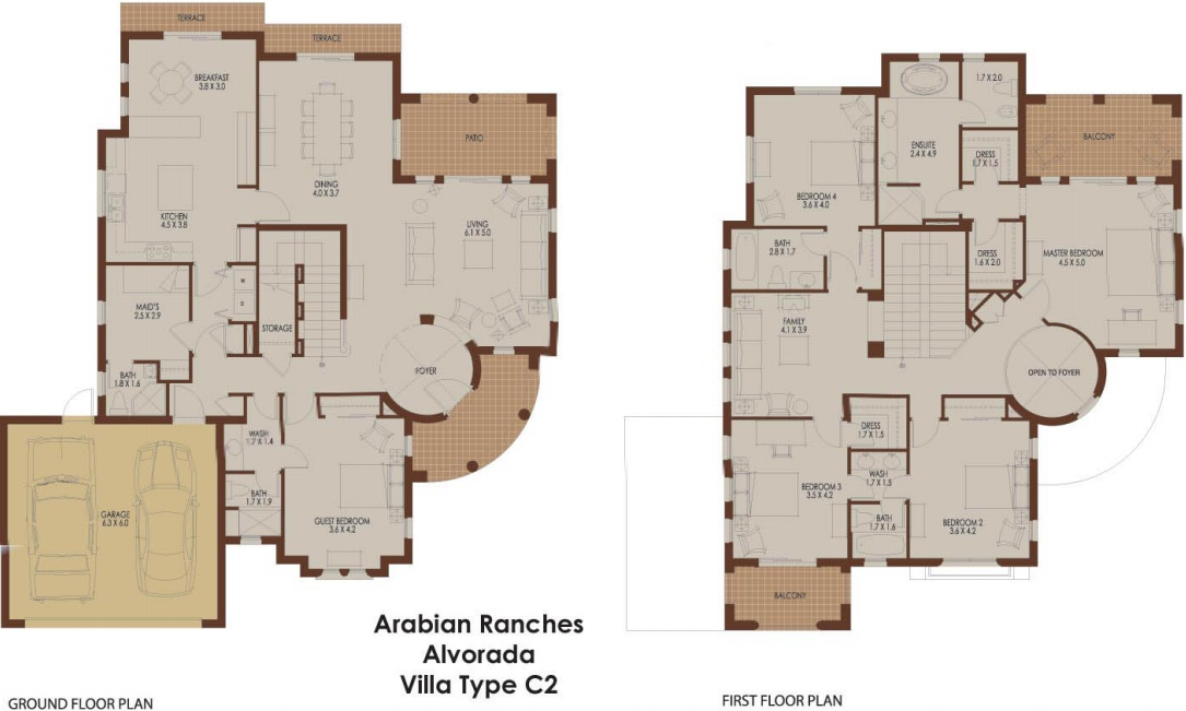 Alvorada c2 arabian ranches dubai floor plans for Plan villa r 2