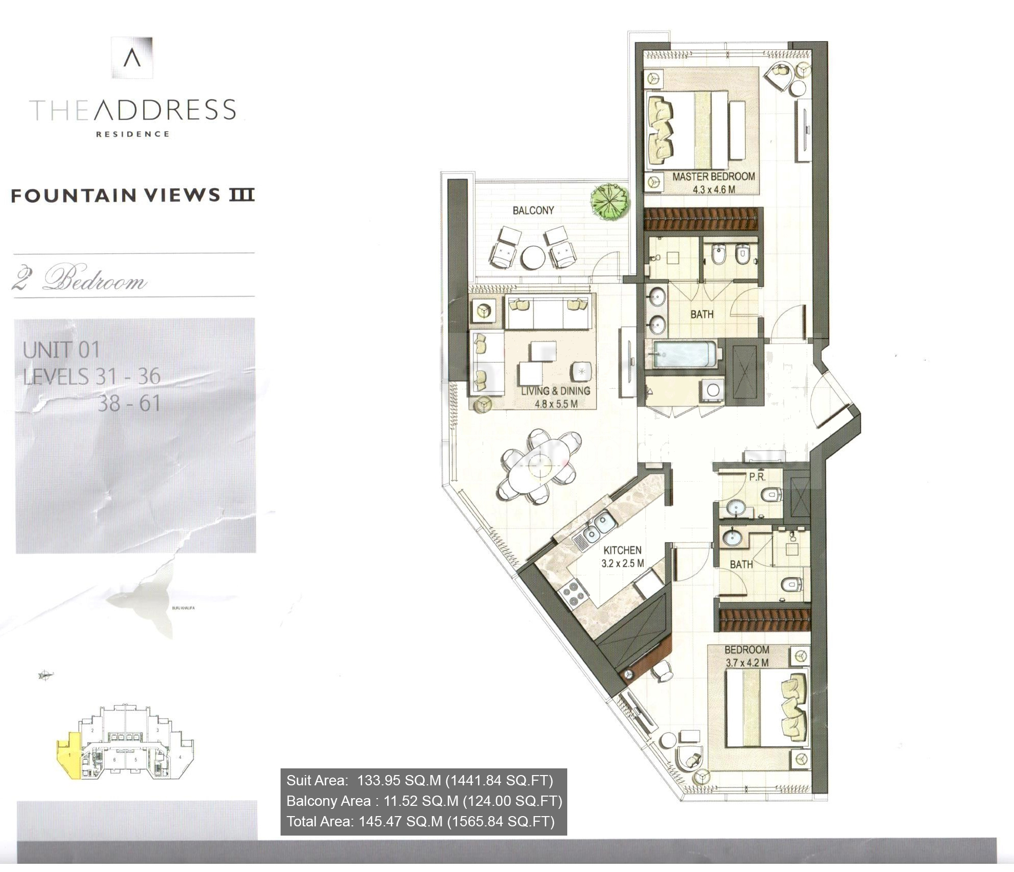 The address residence floor plans downtown dubai for Floor plans by address