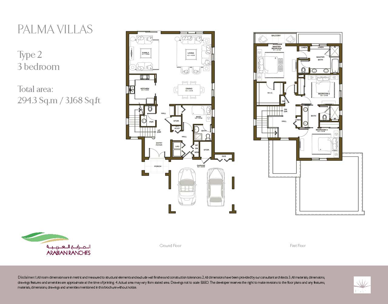Palma Villa Floor Plans Arabian Ranches