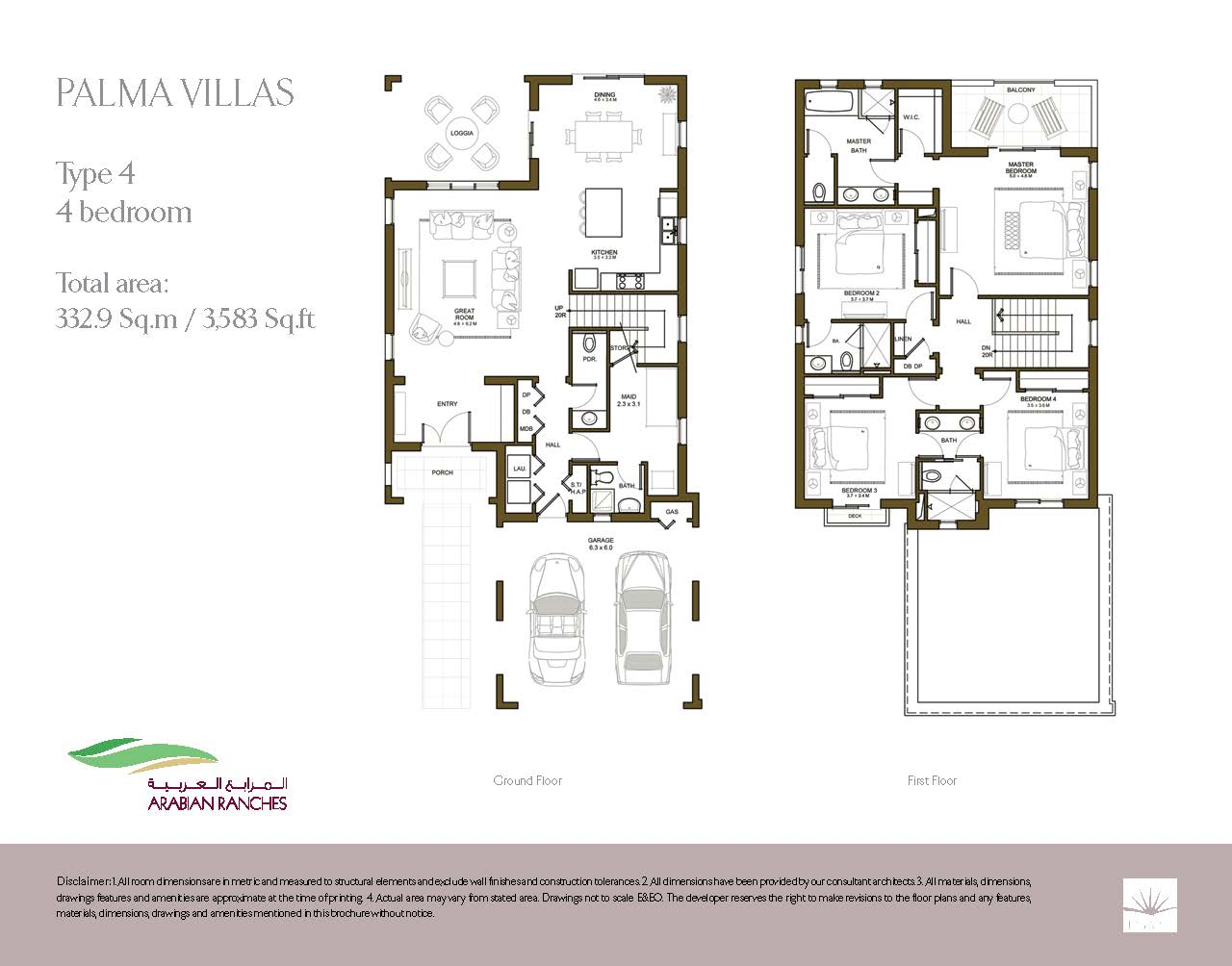 Palma villa floor plans arabian ranches for 4 bedroom villa plans