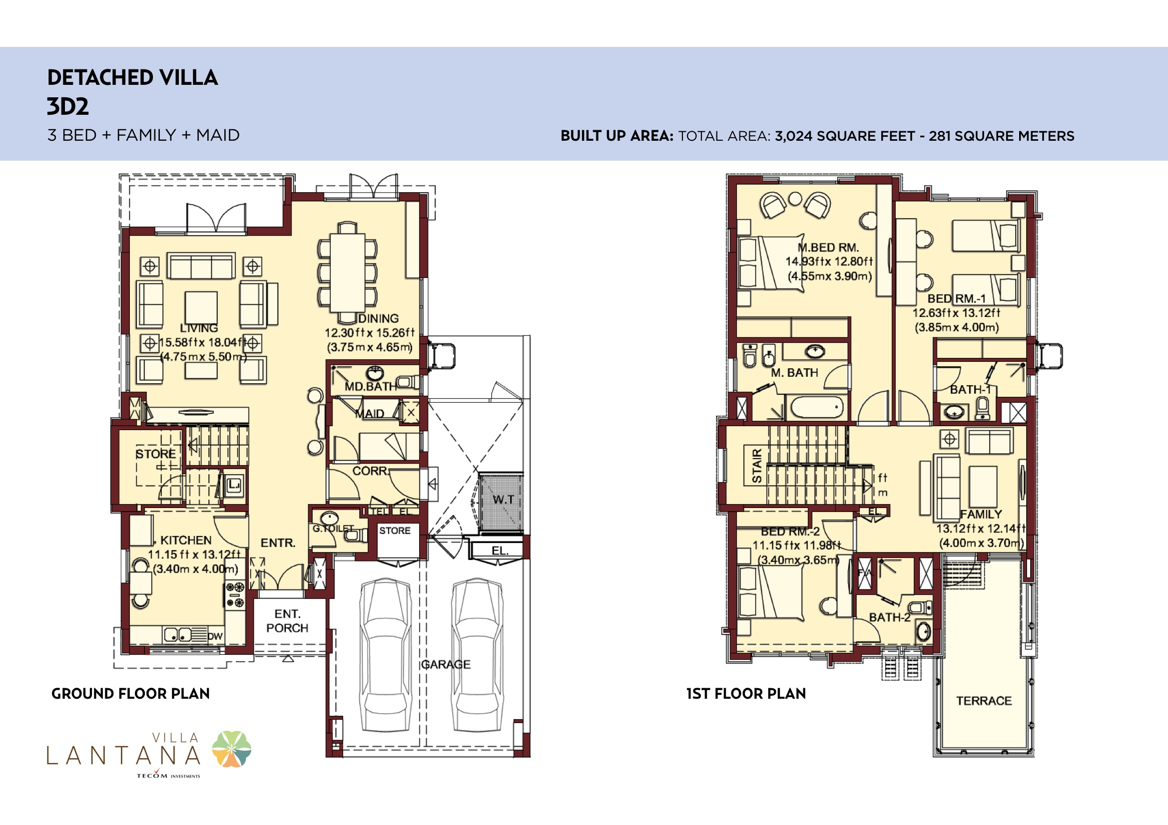 Villa lantana floorplans jumeirah village circle jvc dubai for Plan villa r 2