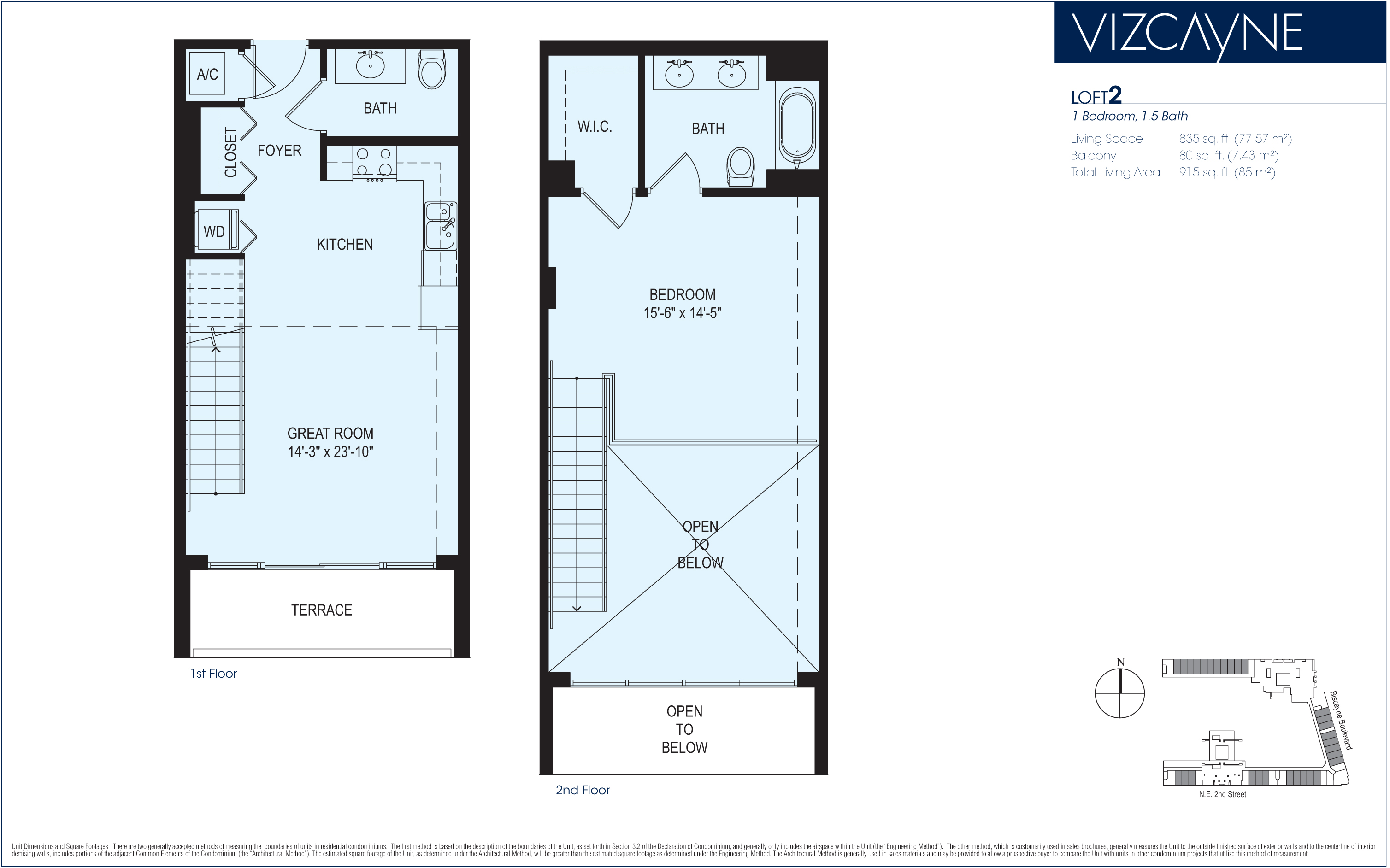 Vizcayne tower floorplans miami for Two story loft floor plans