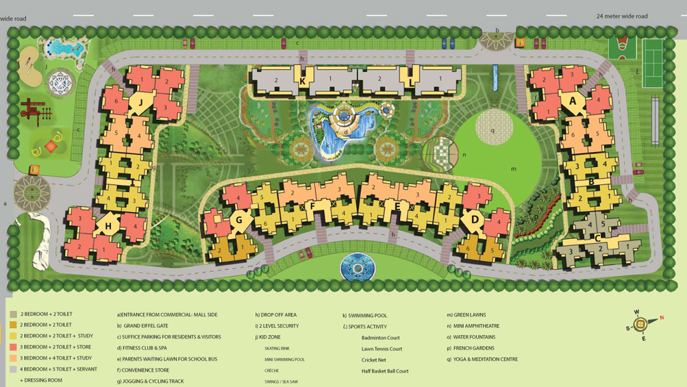 French apartment floor plans noida india for Apartment plans for 60x40 site