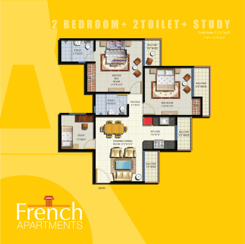 French apartment floor plans noida india for Apartment wifi plans