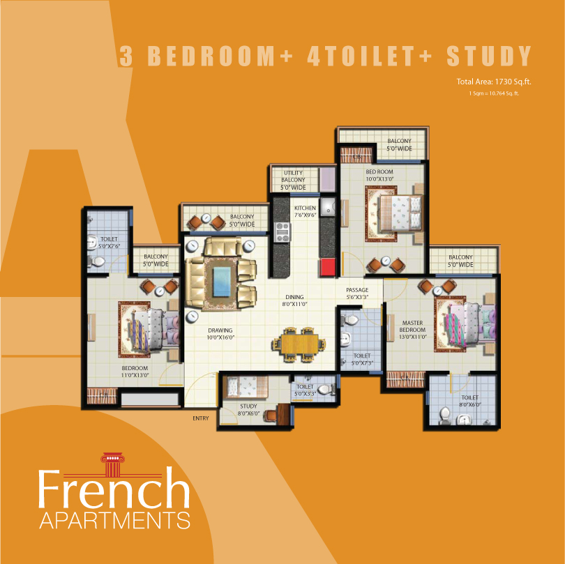French apartment floor plans noida india for Apartment plans in india