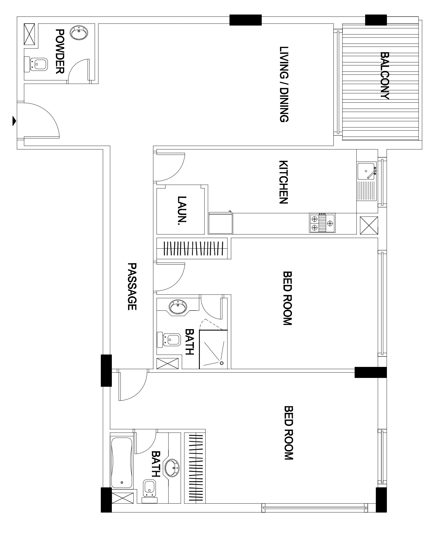 Sobha Daffodil 2bed Floor Plan - JVC, Dubai, UAE