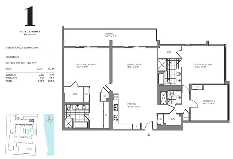 One hotels homes floor plans miami beach florida for Miami house plans
