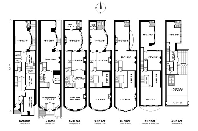 New york city townhouse floor plans for New york house plans