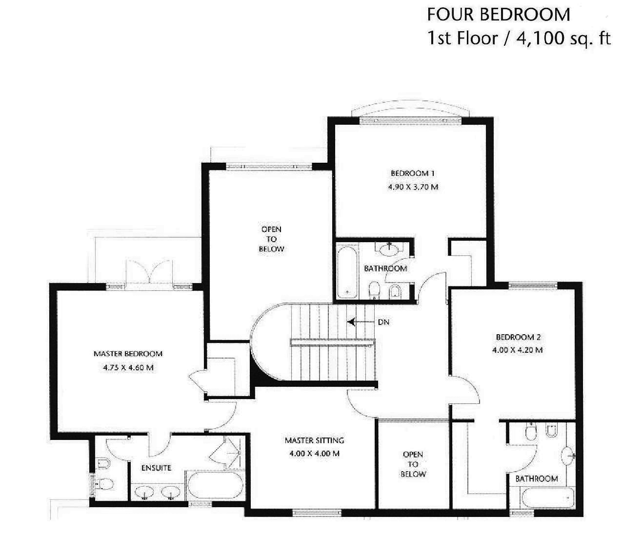 Canal cove floor plans palm jumeirah dubai for 4 bedroom townhouse floor plans