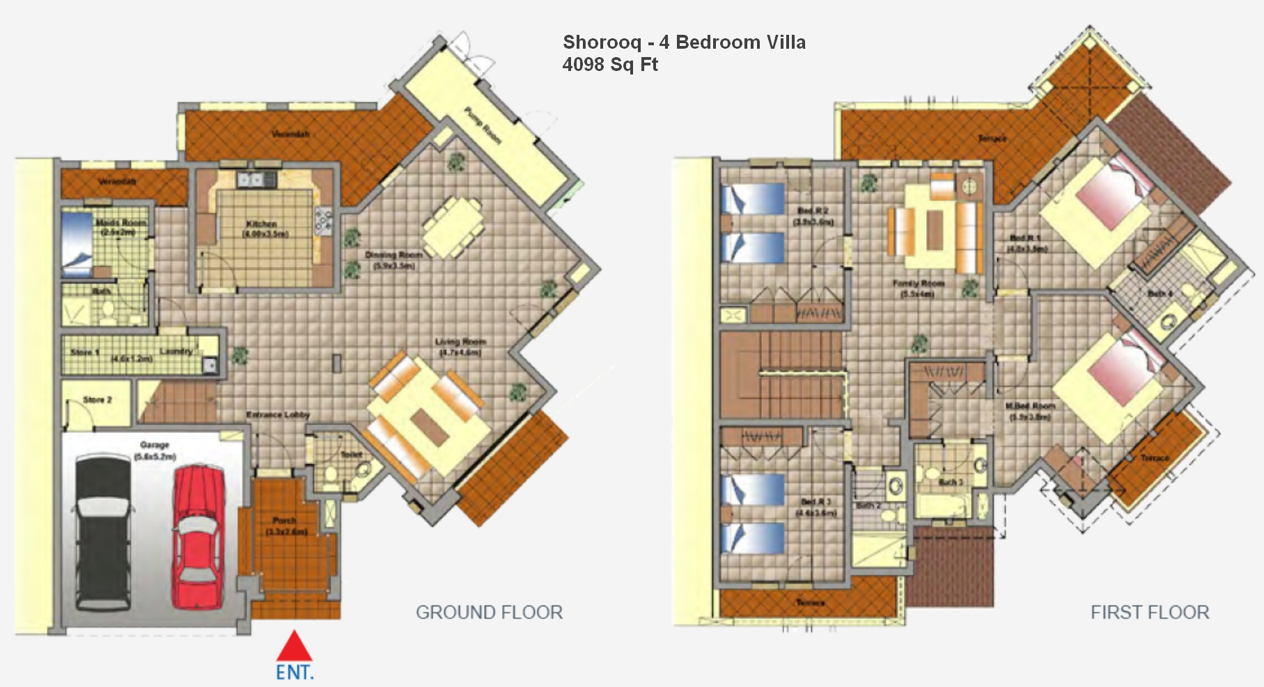 Mirdif dubai floor plans for 4 bedroom villa plans