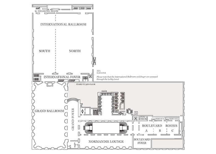 US Chicago Hilton Hotel Typical on conference room plans