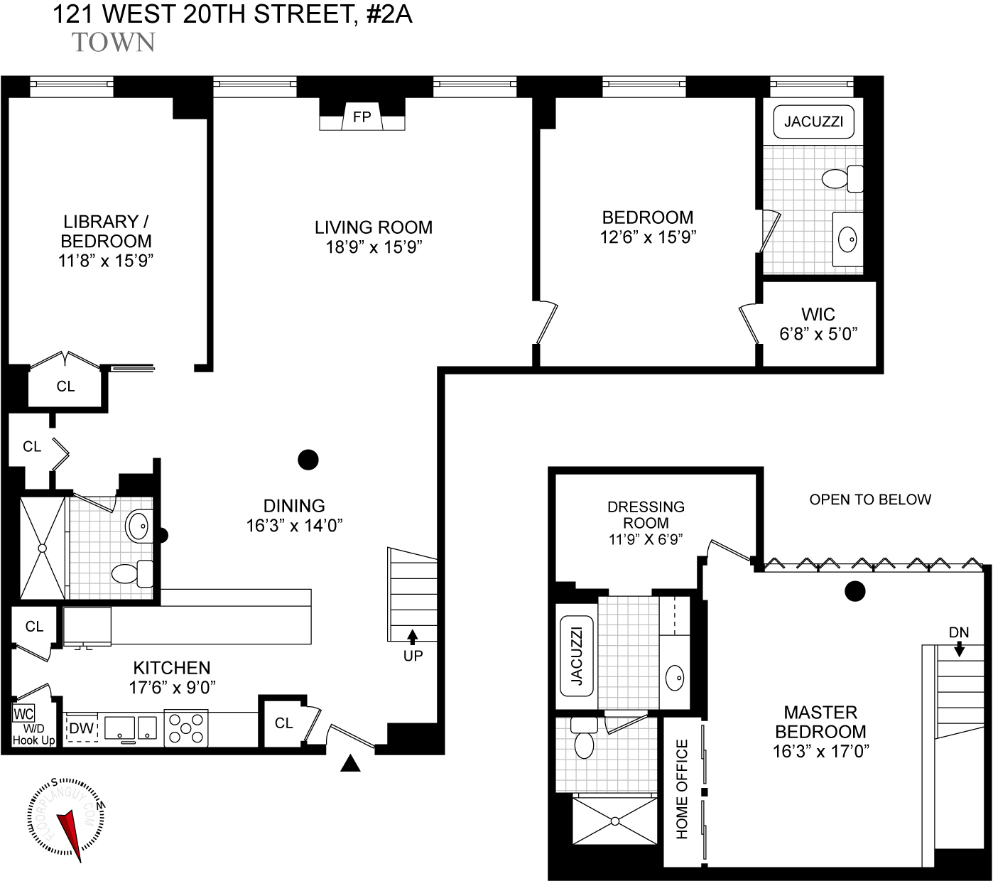 Unit 2a 121 west 20th street floor plan new york for Floor plans manhattan apartment buildings