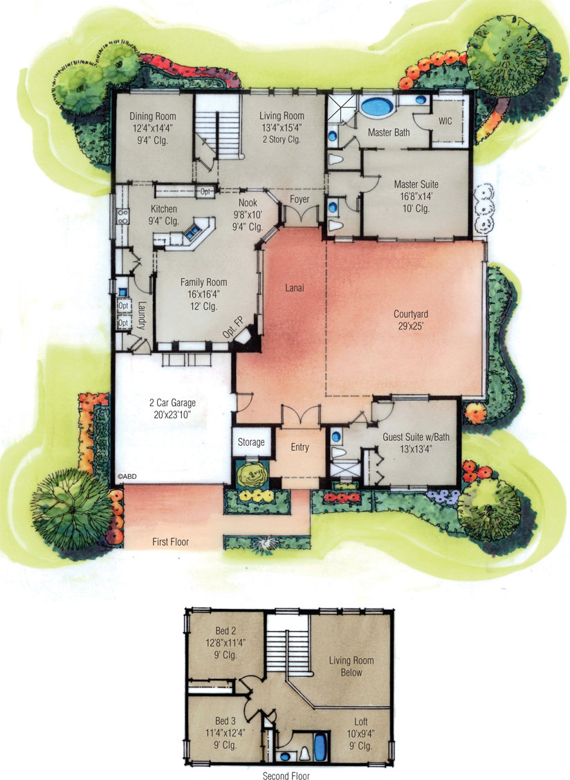 Toscana floor plans palm coast florida Old world house plans courtyard