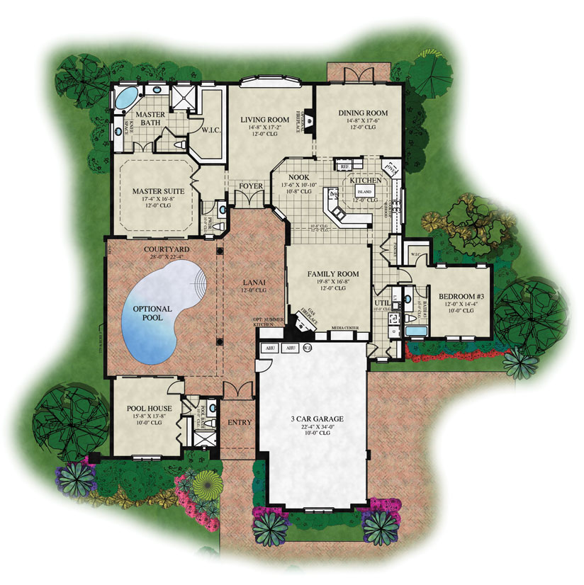 Toscana floor plans palm coast florida for Old world house plans courtyard