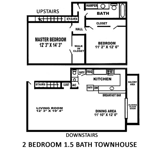 Duplex house plans for large two bedroom two bath joy Two bedroom townhouse plans