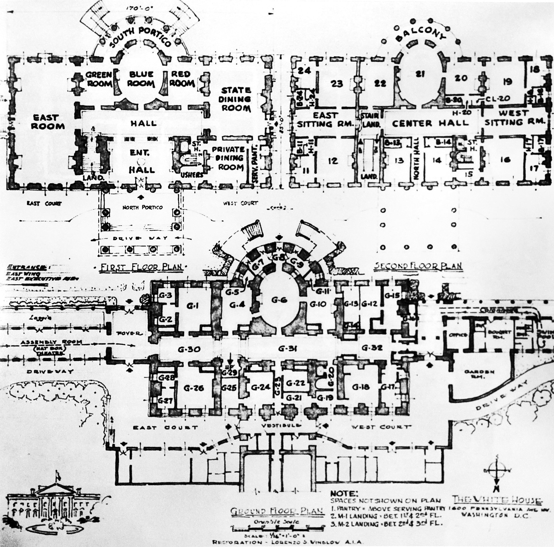 The white house floor plans washington dc for Washington house plans
