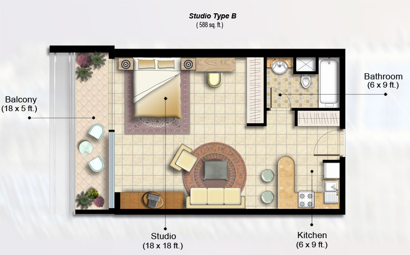 Indigo tower floor plans jlt dubai - Planning the studio apartment floor plans ...