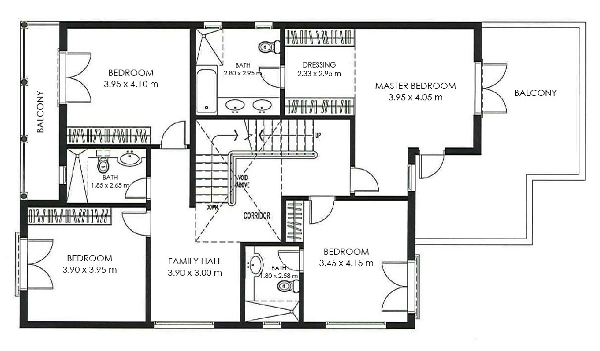The villa mazaya type a1 floor plan for Different types of house plans